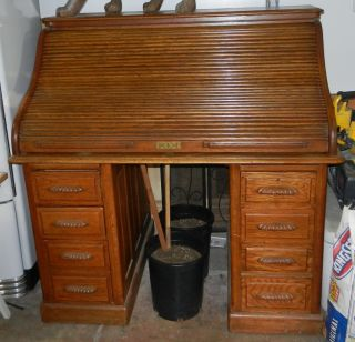 Antique Oak Rolltop Desk photo