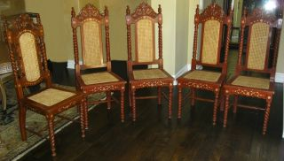 Set Of 5 Jacobean Style Chairs Ornate With Marquetry Inlay,  Cane Back & Seat photo