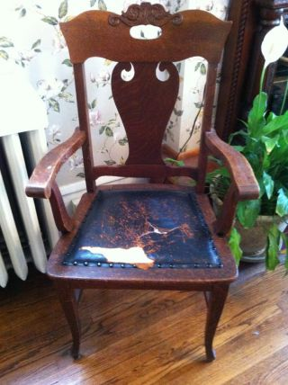 Antique Side Chair With Leather Seat And Arms photo