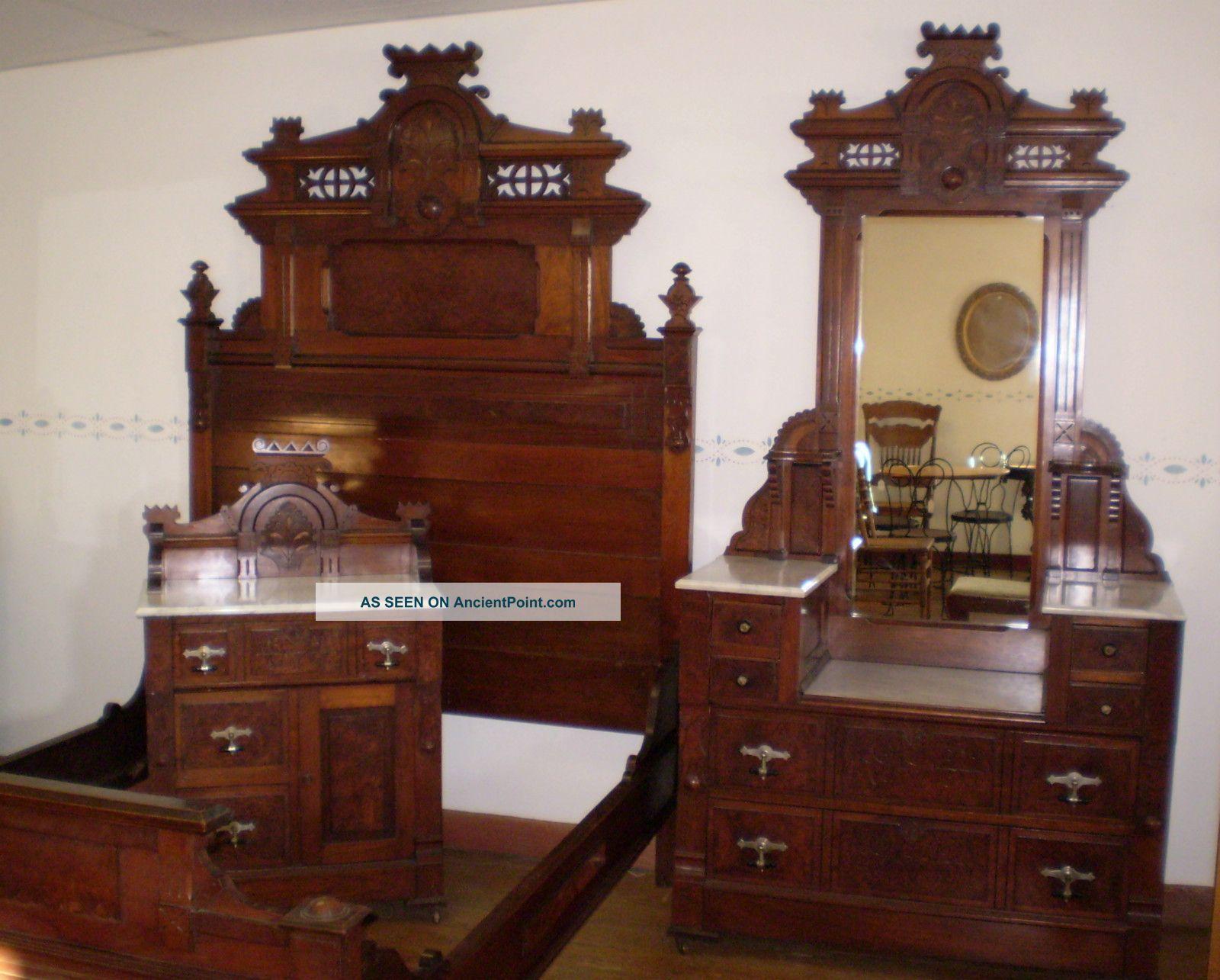 Antique Walnut & Burled Elm Bedroom Set Marble Top Finish ...