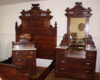 Antique Walnut & Burled Elm Bedroom Set Marble Top Finish Circa 1880s photo