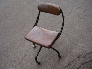 Vintage Leather Covered Do More Chair Company Office Chair. photo