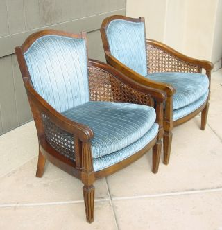 Pair Vintage Cane Club Arm Chairs Hollywood Regency Mid Century Modern photo
