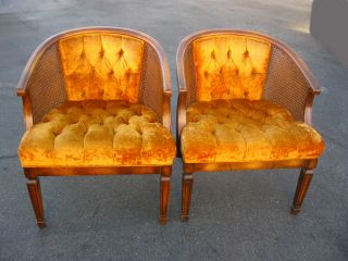 Pair Of Two Vintage Mid Century Modern Cane Chairs Orange Tufted Velvet Fabric photo