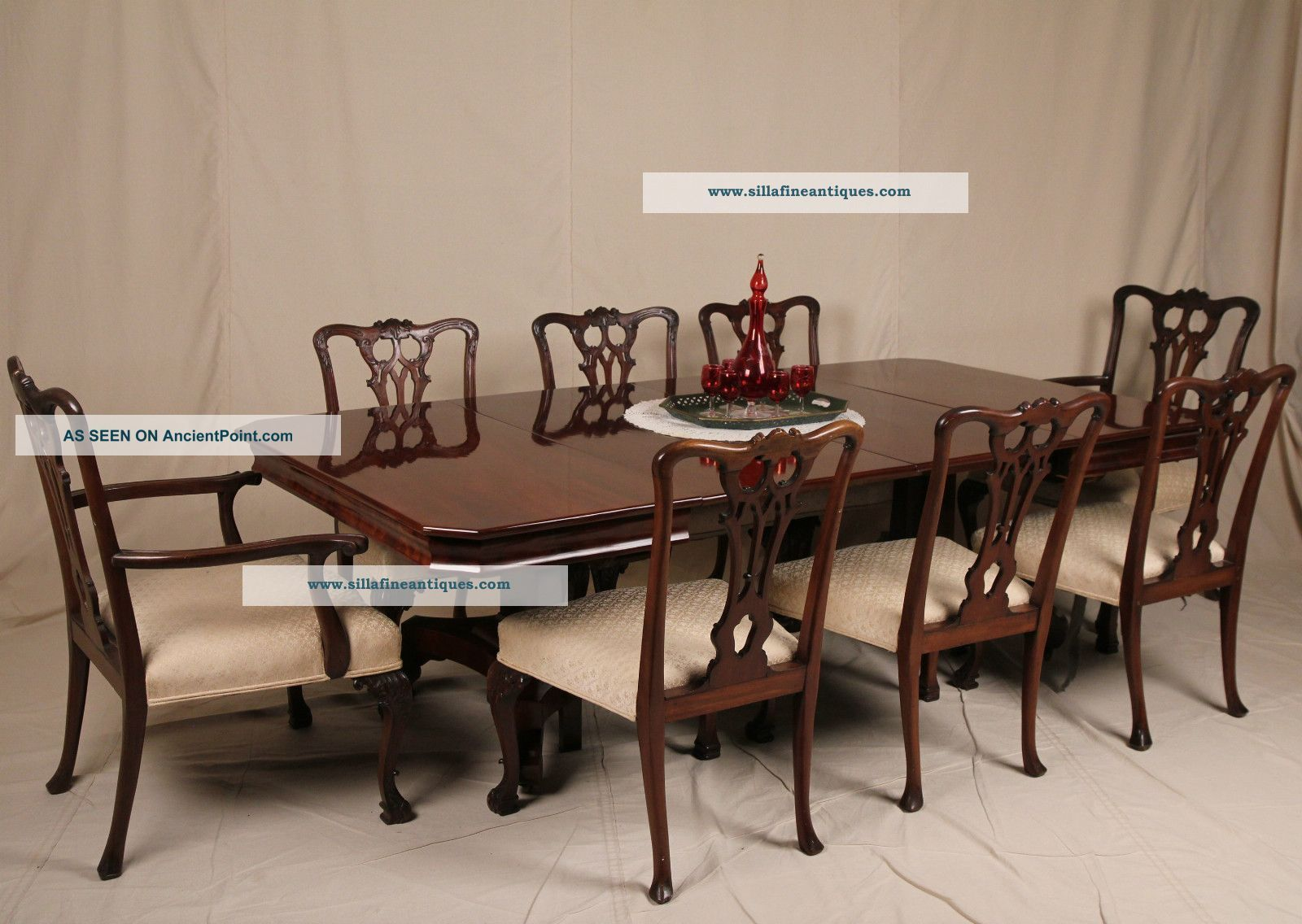 american classical empire solid mahogany antique expanding dining room table