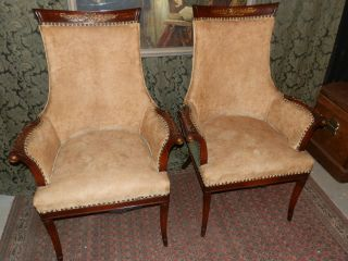 Gorgeous Pair Of Antique Parlor Chairs With Carved Detail And Great Lines photo