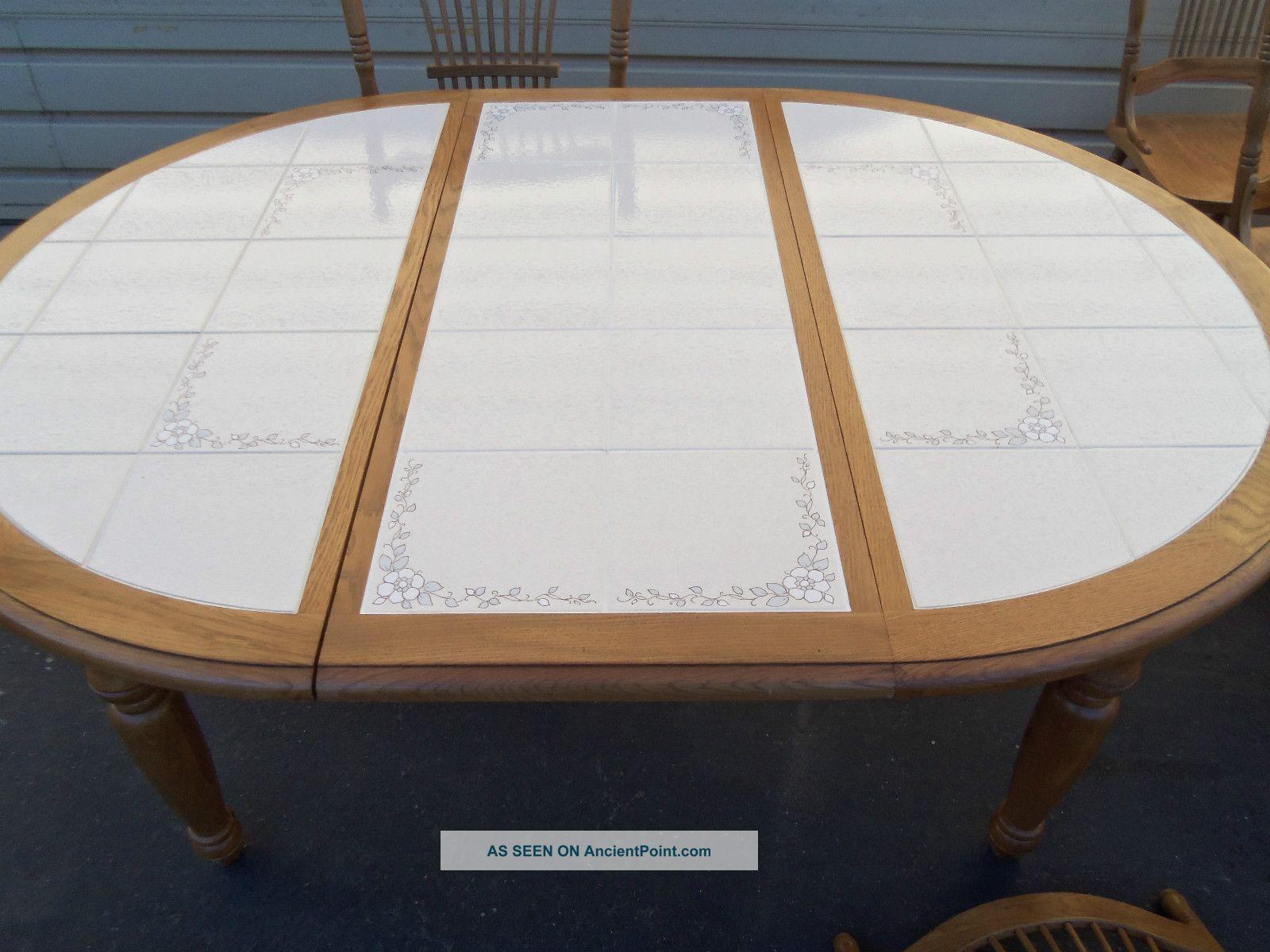 Oak For Table Top mpfmpfcom Almirah Beds Wardrobes  : 49493oaktiletopdiningtablewith6solidoakchairs8lgw from mpfmpf.com size 1600 x 1200 jpeg 213kB