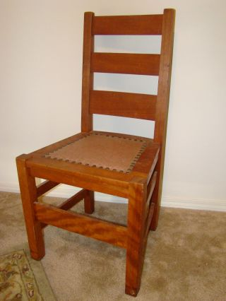 Auth Antique Signed Stickley Bros Quaint Furniture Side Chair Mission Oak photo