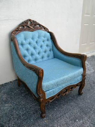French Carved Tufted Living Room Side Chair 2548 photo