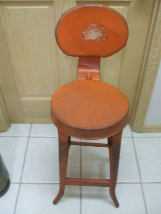 Vintage Metal Kitchen Chair ^^ Red Paint photo