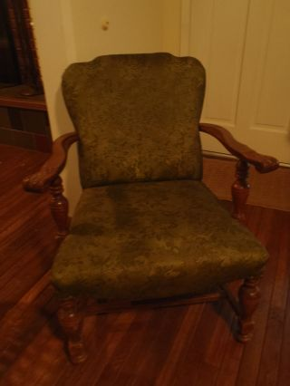 Old Antique Open Armchair Carved & Turned Arm Supports And Front Legs Estate photo