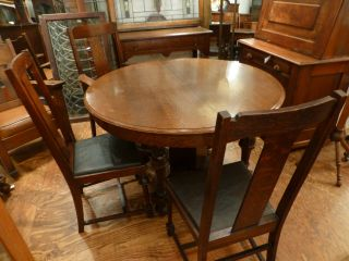 Antique Tiger Oak Arts & Crafts,  Gothic Detail 5 Pc.  Dining Room Set photo