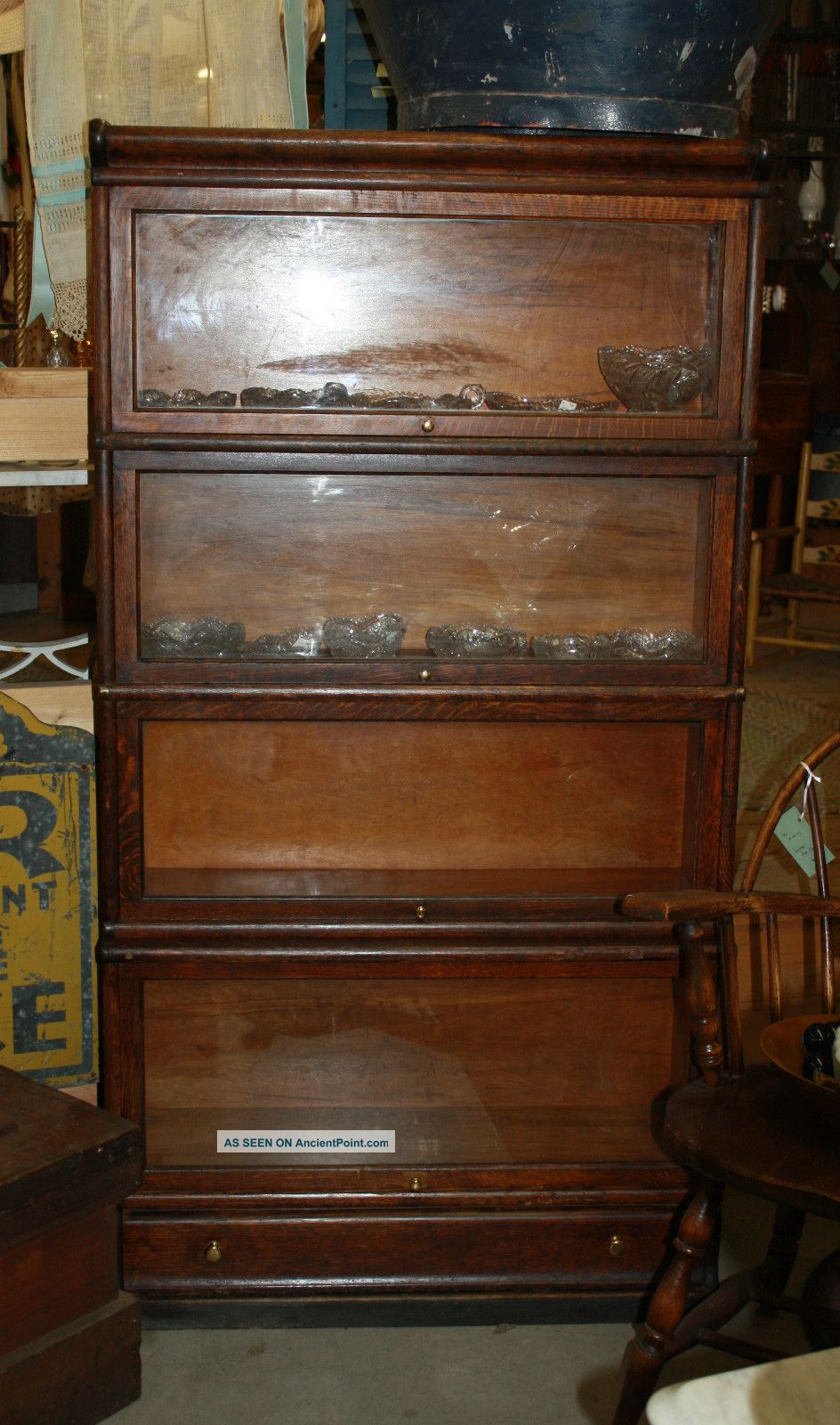 Antique Oak Stacking Barrister Bookcase 5 Sections With Drawer