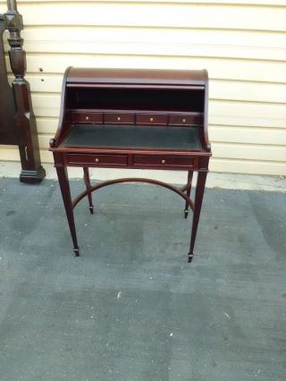 50639 Tambor Roll Top Mahogany Desk With 2 Drawers photo