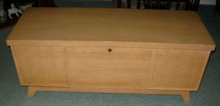 Retro,  Blonde Cedar Chest By Lane,  Vintage 1950 ' S - Lock Replaced photo