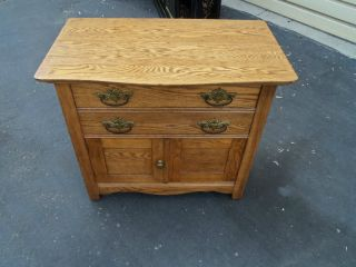 50164 Antique Solid Oak Washstand Chest Stand photo