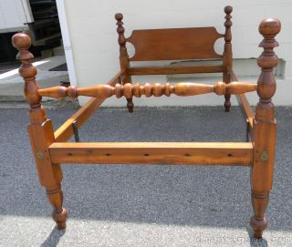 C1840 Early American Country Pine Bed With Turned Posts photo