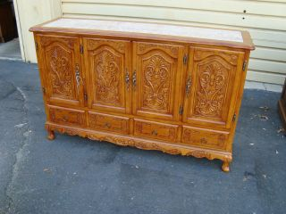 49772 Carved French Marble Top Server Sideboard Buffett photo