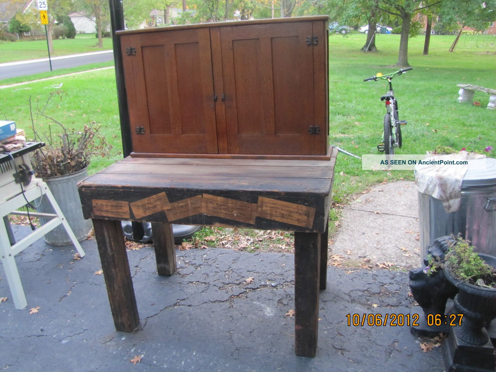 Early Printers Table - - Work Bench W/ Square Legs