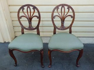 50961 Pair Of Carved Mahogany French Carved Fleur Back Dining Side Chairs photo