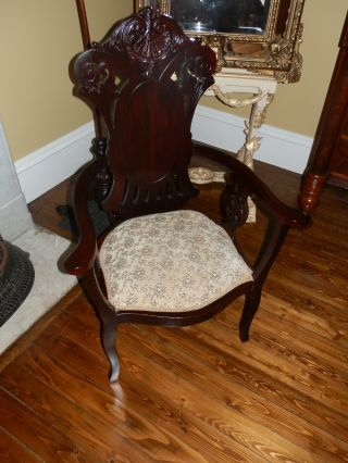 Fabulous Hand Carved Antique Victorian High Back Arm Chair photo