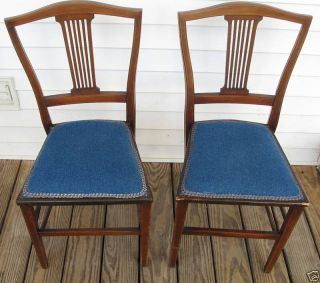 2 Antique Horse Hair Upholstery Mahogany Chairs photo