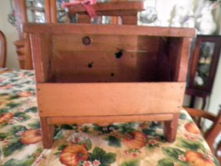 Antique Old Primitive Wood Shoe Shine Polish Box Stand Shaker Colonial Style photo