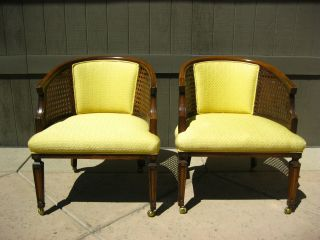 Pair Of Yellow Vintage French Hollywood Regency Club Chairs Cane Backing photo