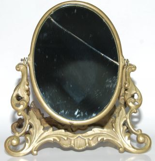 French Vanity Dressing Table Heavy Brass Mirror F/ship photo