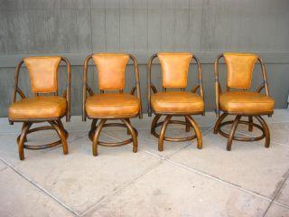 Vintage Danish Mid Century Diningroom Table 4 Orange Swivel Chairs Bamboo Rattan photo