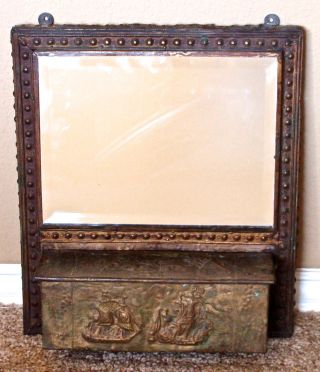 Antique Brass Riveted Art Nouveau Wall Shaving/vanity Mirror W/ Comb/tray Box photo