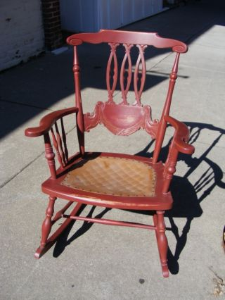 Old Solid Wood Red Rocking Chair W/ Tan Seat & Arm Rests 100+ Yrs Old Lovely photo