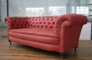 Antique Victorian Chesterfield Sofa 19th Century Large Pink photo