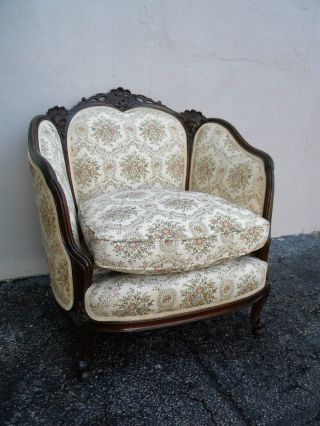 French Walnut Carved Down Living Room Chair 2686a photo