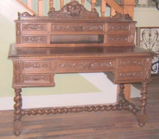French Carved Hunt Desk W/hidden Locking Compartment photo