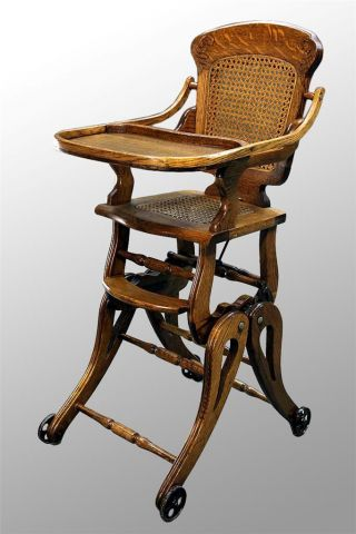 15455 Antique Victorian Oak Up And Down High Chair photo