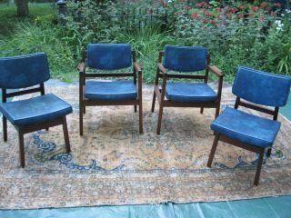 4 Modern Mid Century Teak Walnut Chairs Set 2 Arm 2 Single 9 Available photo