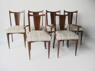 Mid Century Modern 6 Dinning Chairs Brass Burled Wood Paul Mccobb Vintage Era photo