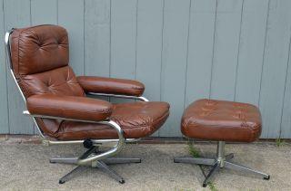 Mid - Century Modern Klote International Leather Lounge Recliner W/ottoman Vintage photo