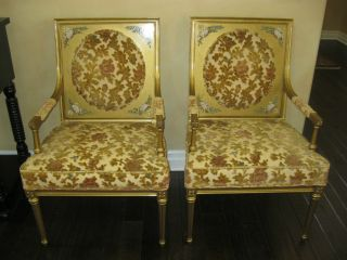 Gorgeous Pair Of Louis Xvi Style French Provincial Arm Chairs Gold Gilt photo