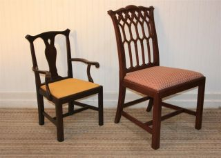 Vtg Madison Square Chippendale Style Solid Mahogany Children ' S Child ' S Arm Chair photo