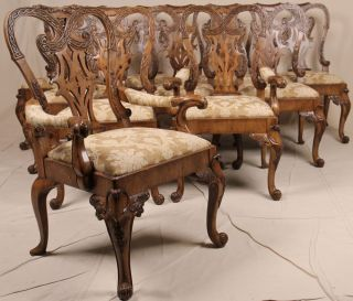 Fine Set Of Ten Newport Historic Antique Chippendale Dining Chairs By Ej Victor photo