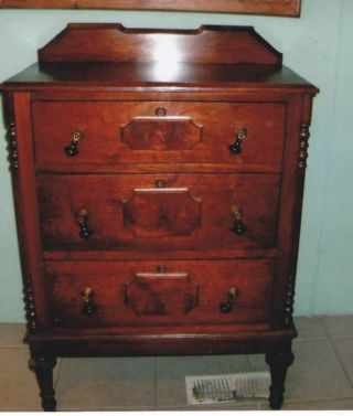 Antique Walnut 3 Dr Bachelor Chest 1860 W /grape Pulls photo