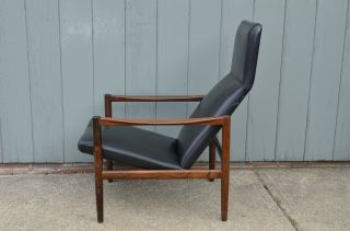 Mid - Century Modern Danish Rosewood And Leather Lounge Chair Black Vintage Eames photo