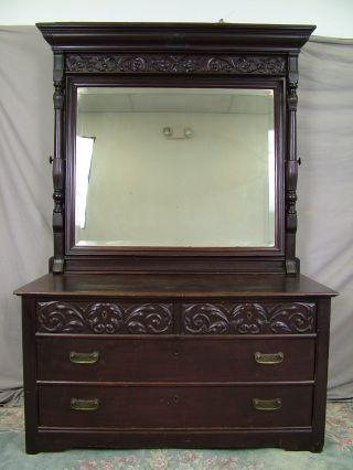19c Antique Solid Mahogany Art Nouveau Carved C1890s Victorian Dressing Dresser photo