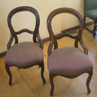Antique Victorian Parlor Chairs Mahogany photo