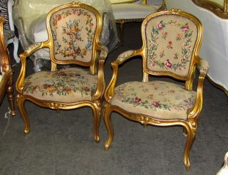 Pair Of Gorgeous French Louis Xv Petite Needlepoint Chairs photo