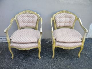 Pair Of French Painted Living Room Side Chairs 1154 photo
