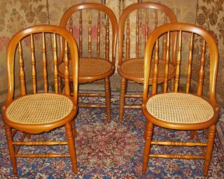 Antique Victorian Maple Bowback Dining Chairs Caned 4 photo