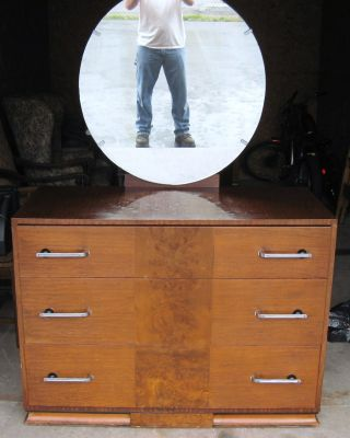 Antique 1930 ' S Rosens Furniture 3 Drawer Dresser W/round Mirror And Nightstand photo